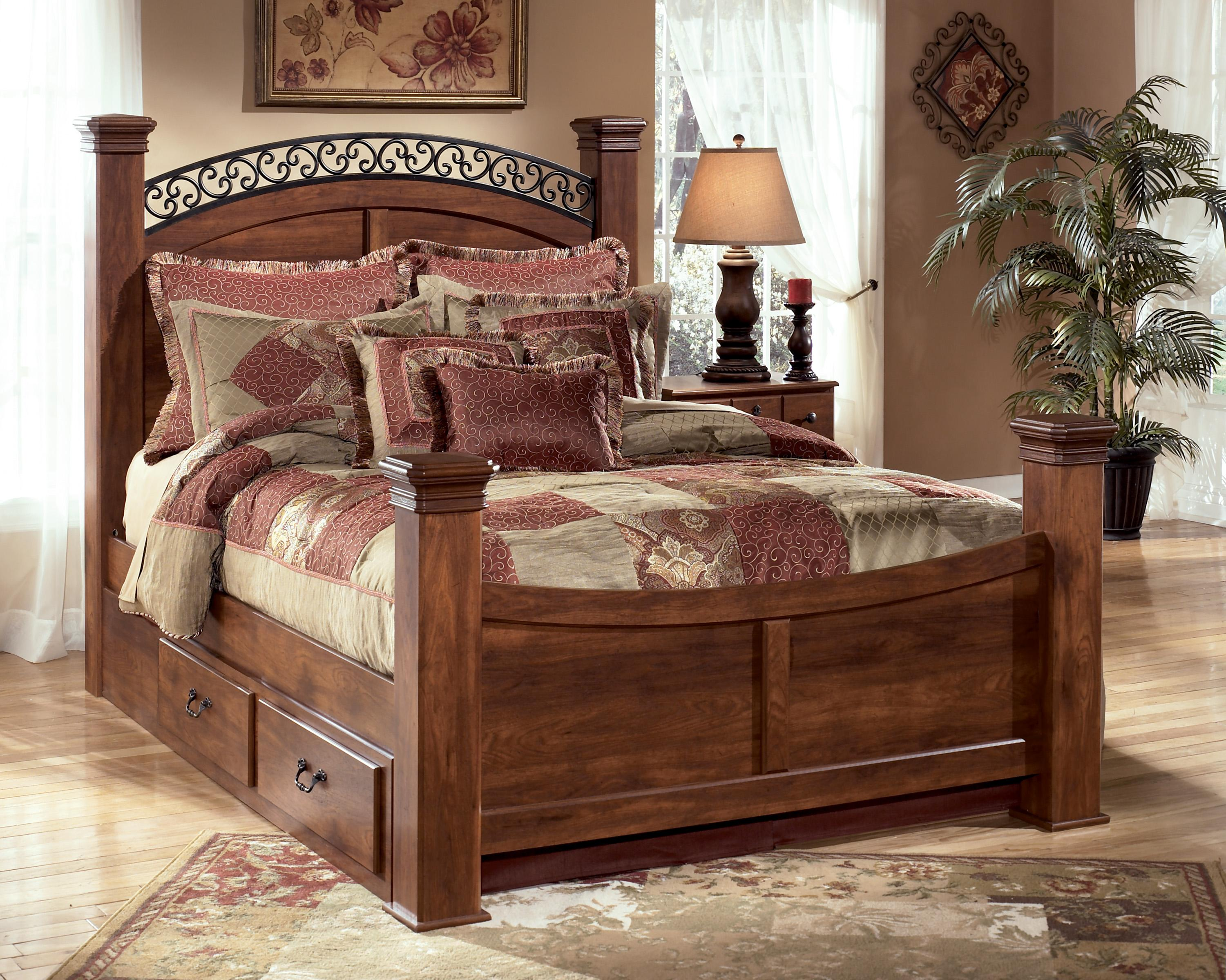 King Poster Bed With Underbed Storage By Signature Design