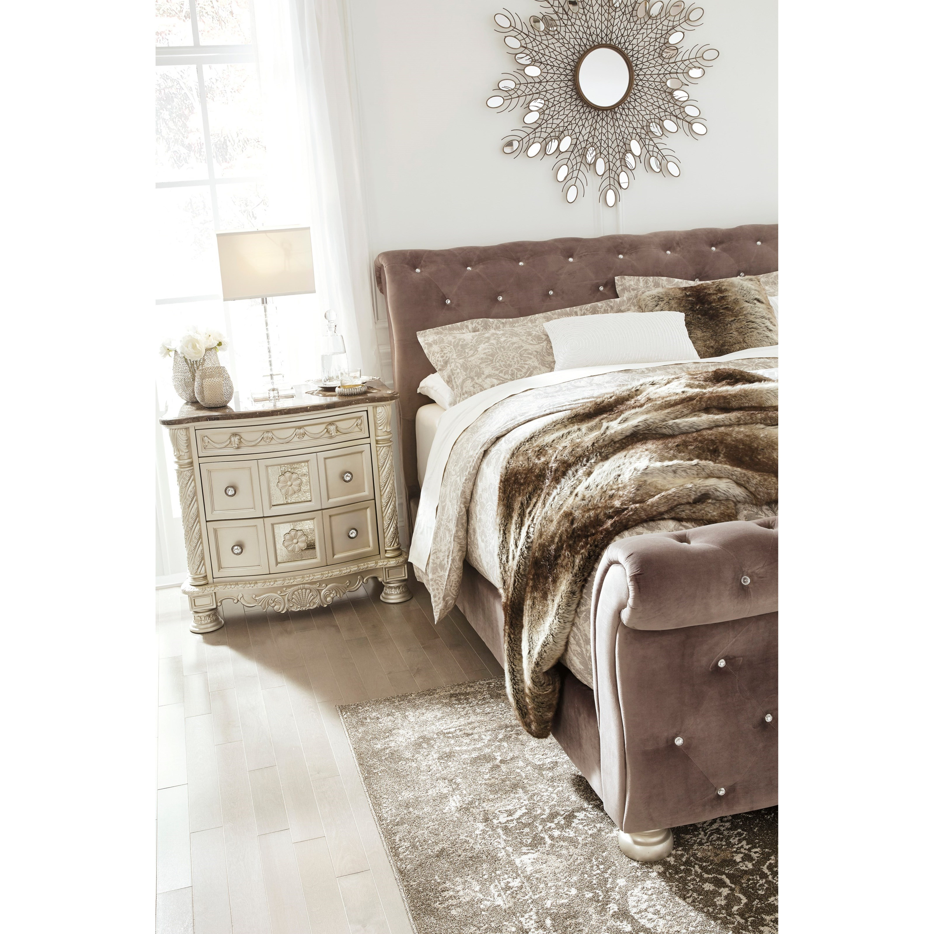 King Upholstered Sleigh Bed With Faux Crystal Tufting By Signature Design By Ashley Wolf And