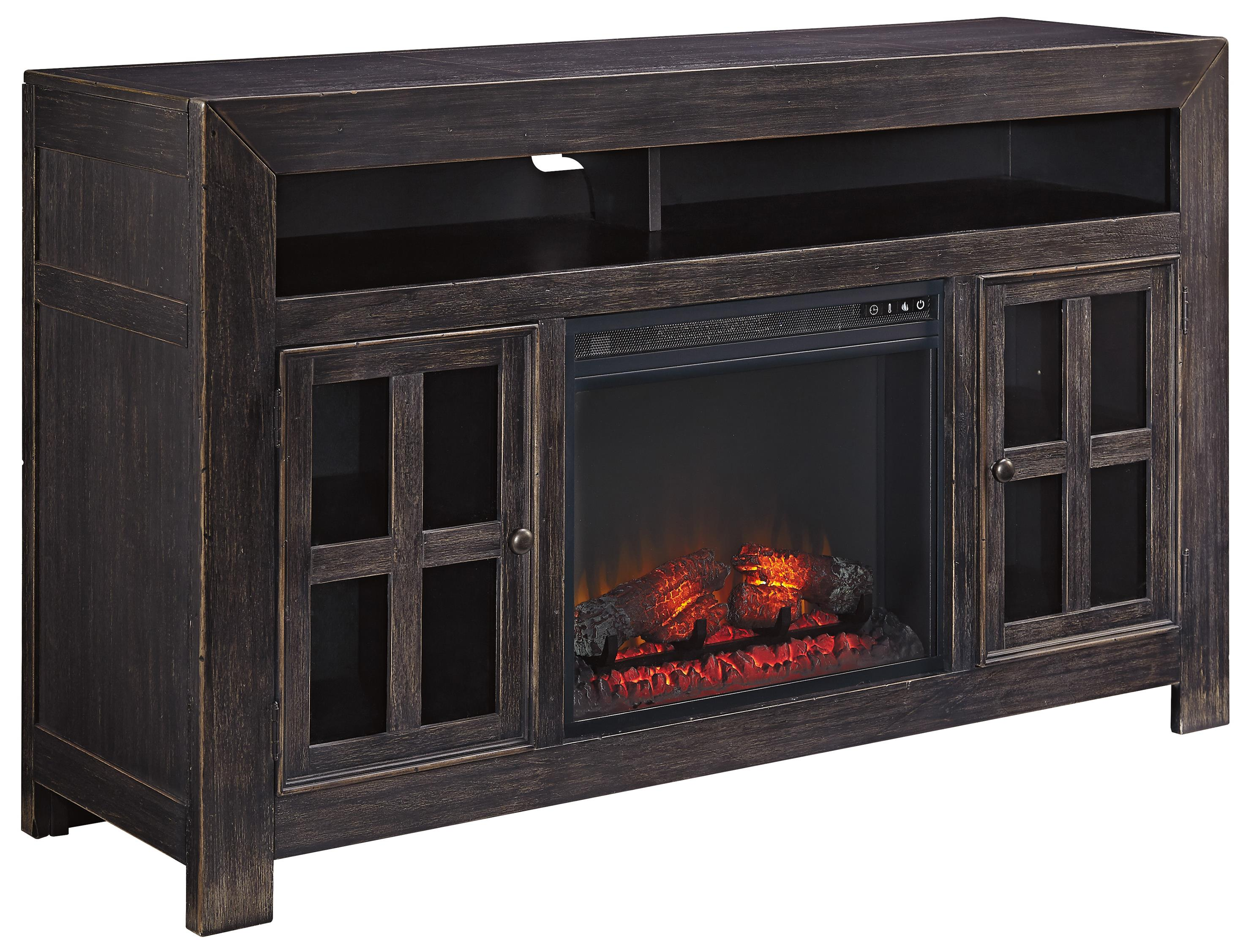 Distressed Black Large TV Stand With Electric Fireplace