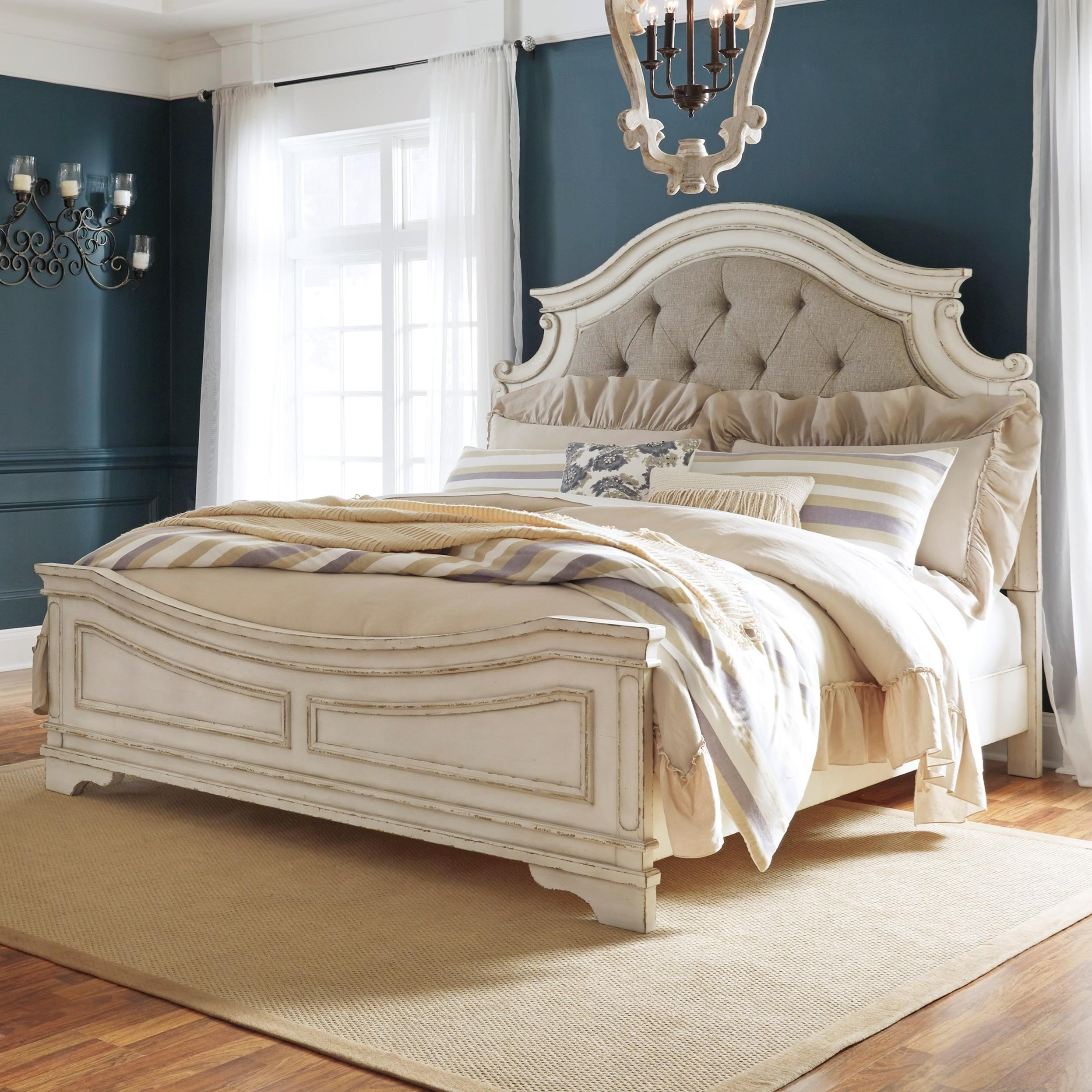King Upholstered Panel Bed With Button Tufting By