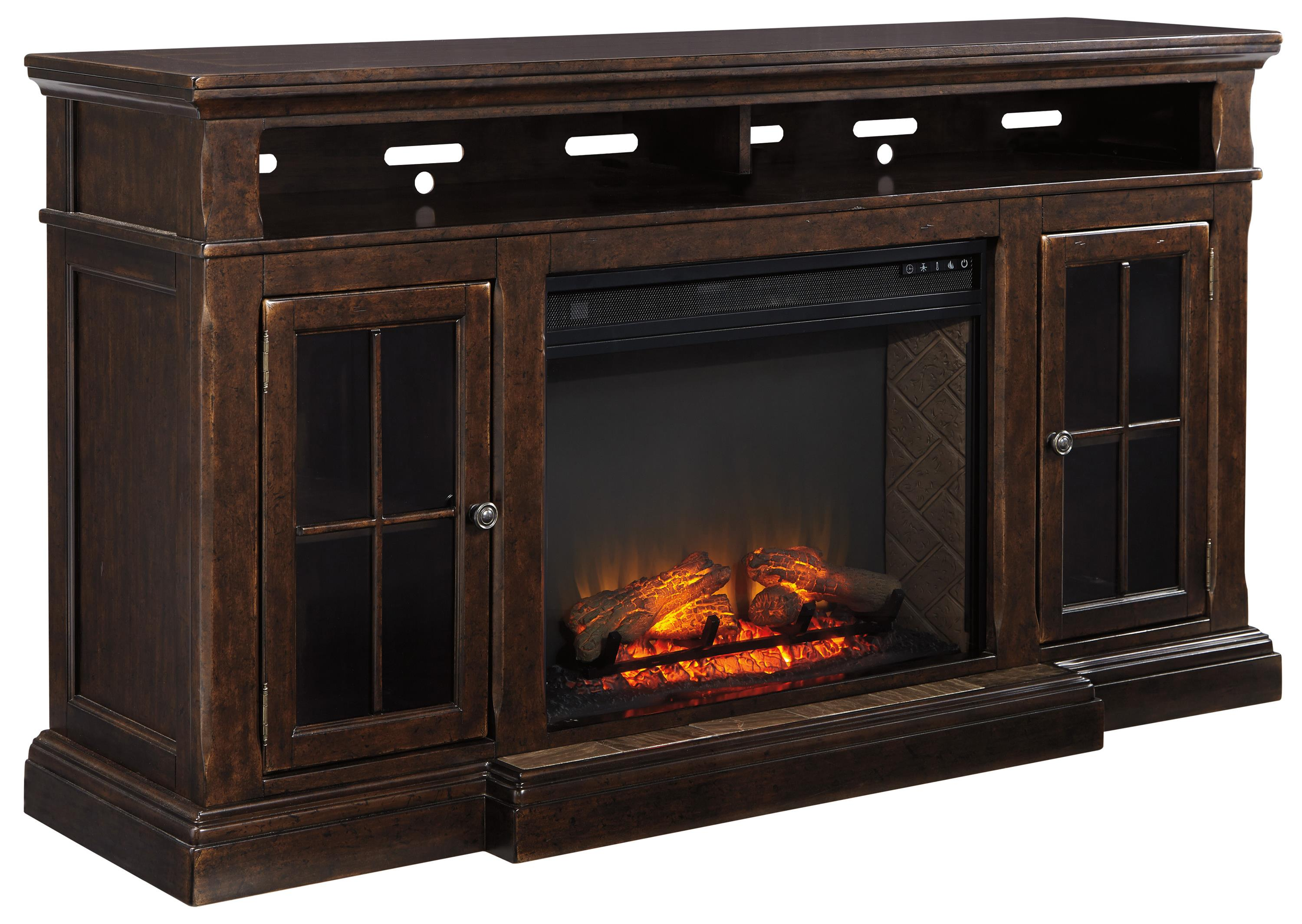 Transitional Extra Large TV Stand W Fireplace Insert By Signature Design By Ashley Wolf And