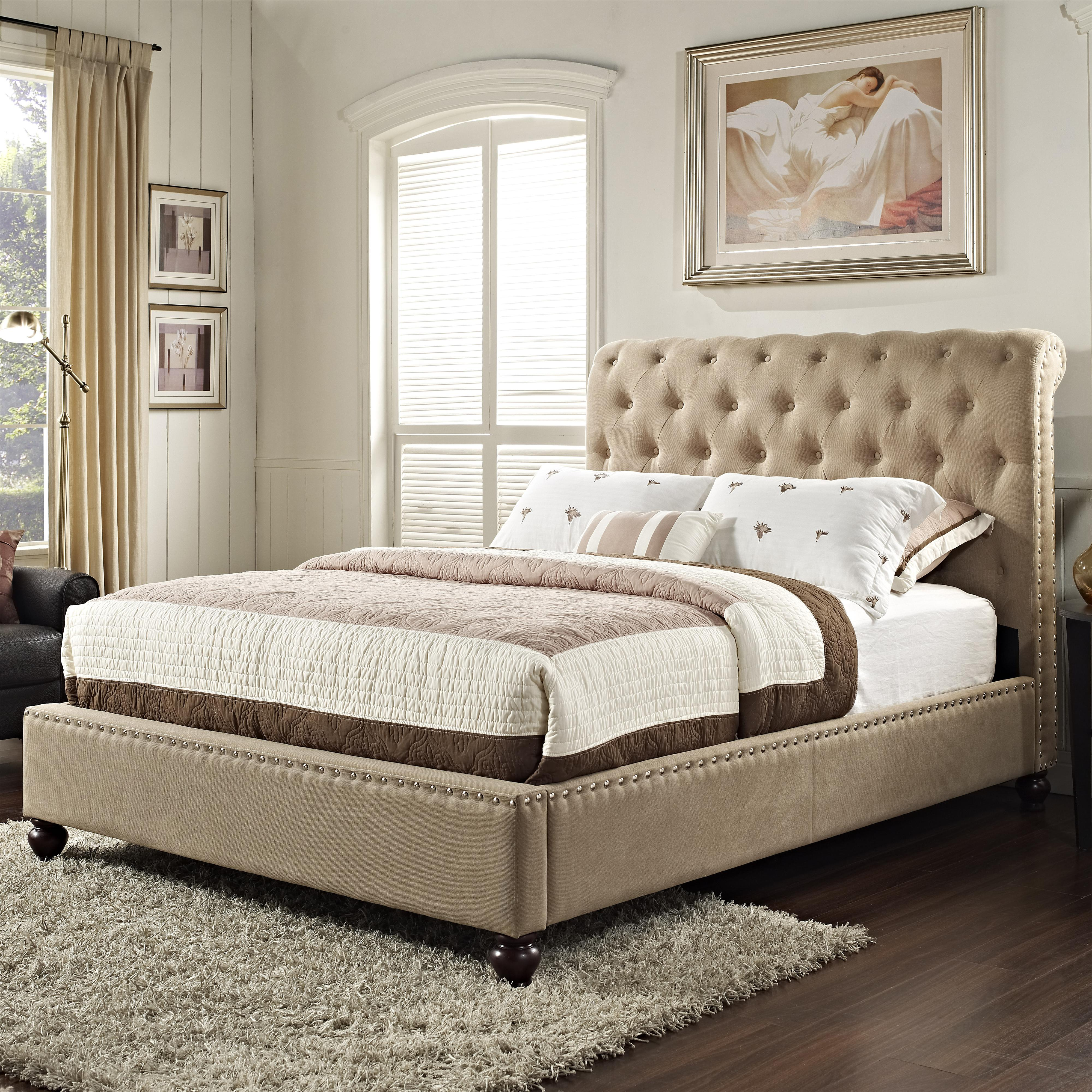 Upholstered King Bed With Rolled And Tufted Headboard By