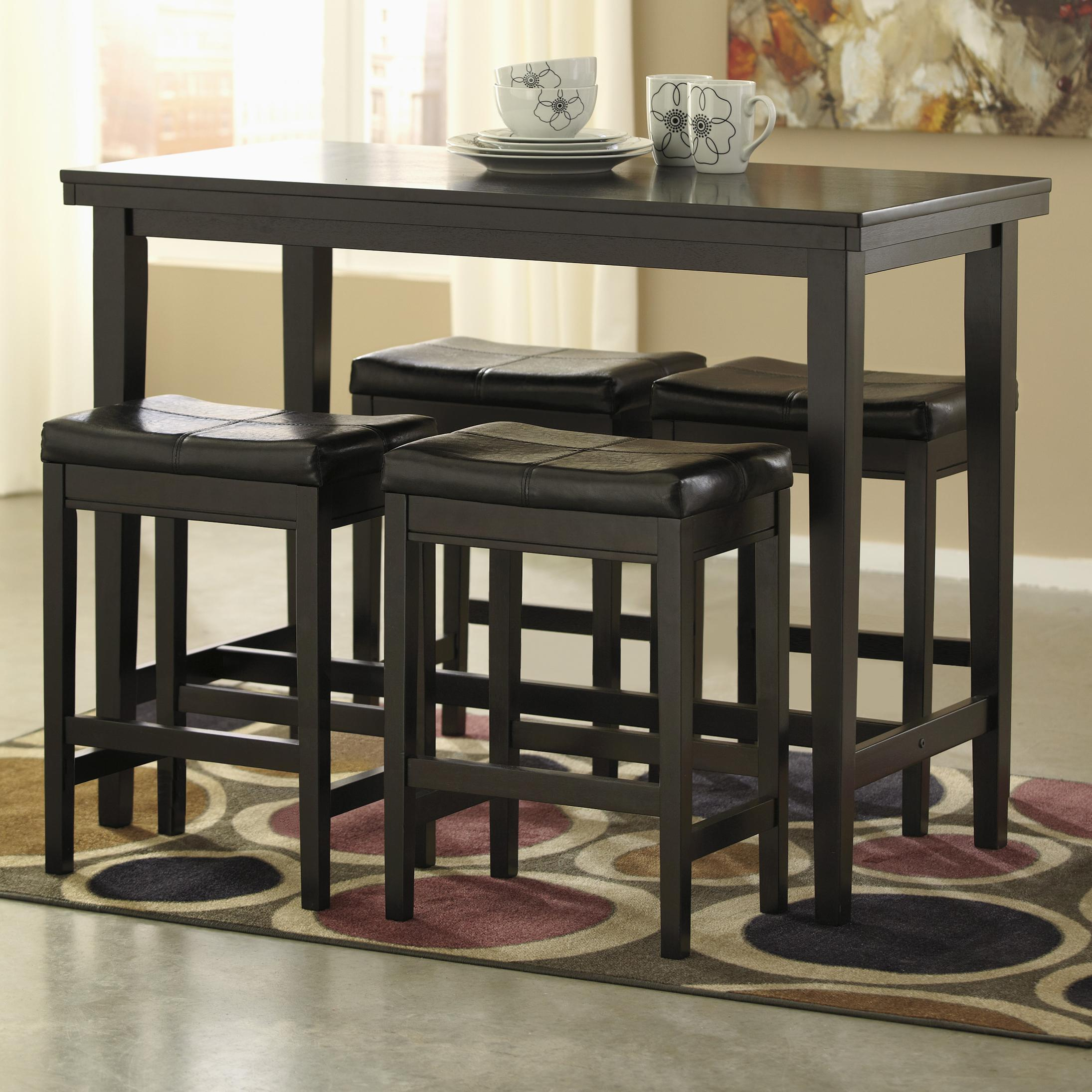 5 Piece Counter Table Set With Dark Brown Upholstered