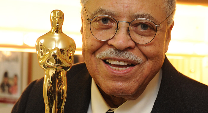 """LONDON, UNITED KINGDOM - NOVEMBER 12: Legendary American actor James Earl Jones poses with his """"Lifetime achievement"""" Oscar that he received from Sir Ben Kinsley after his performance in """"Driving Miss Daisy"""" on November 12, 2011 at the Garrick Theatre in London, England. (Photo by Dave M. Benett/Getty Images)"""