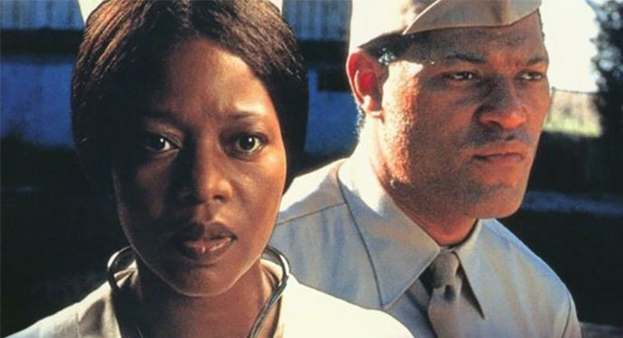 Alfre Woodard and Laurence Fishburne in keyart for Miss Evers' Boys (HBO)