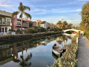 Canal, palm trees, and homes in Los Angeles