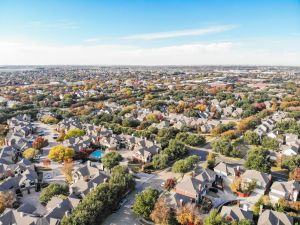 Overhead view of Dallas neighborhoods