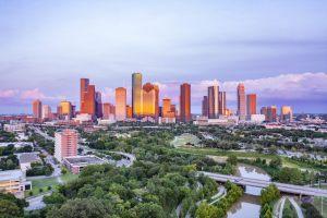 City of Houston at sunset