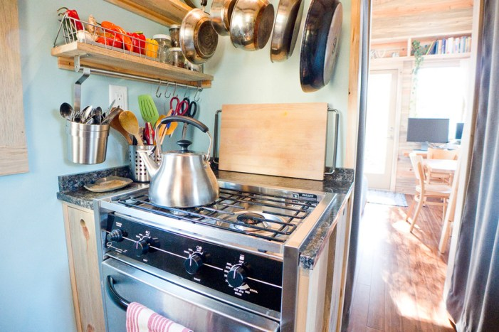 The stove in the kitchen interior Tiny House