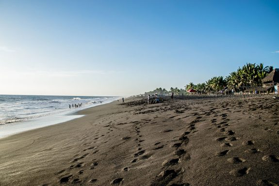 Black sand beach in Monterricio Guatemala