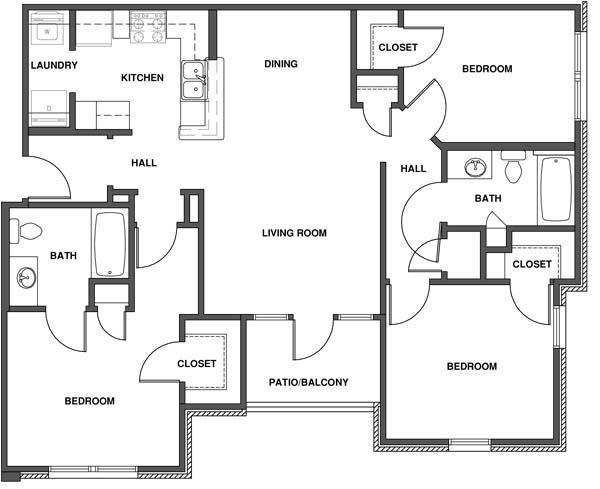 3 Bedroom Apartment Floor Plan With Dimensions