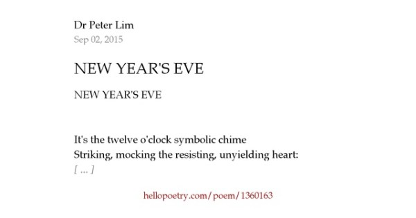 NEW YEAR'S EVE by Dr Peter Lim - Hello Poetry