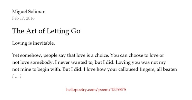 Someone You Go Love Letting Poems