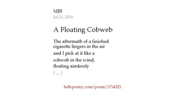 A Floating Cobweb by Mitch Nihilist - Hello Poetry