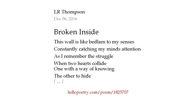 Poems About Being Broken Inside