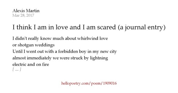 I think I am in love and I am scared (a journal entry) by ...