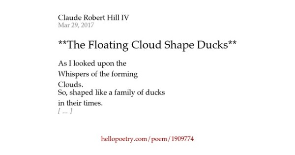 **The Floating Cloud Shape Ducks** by Claude Robert Hill ...