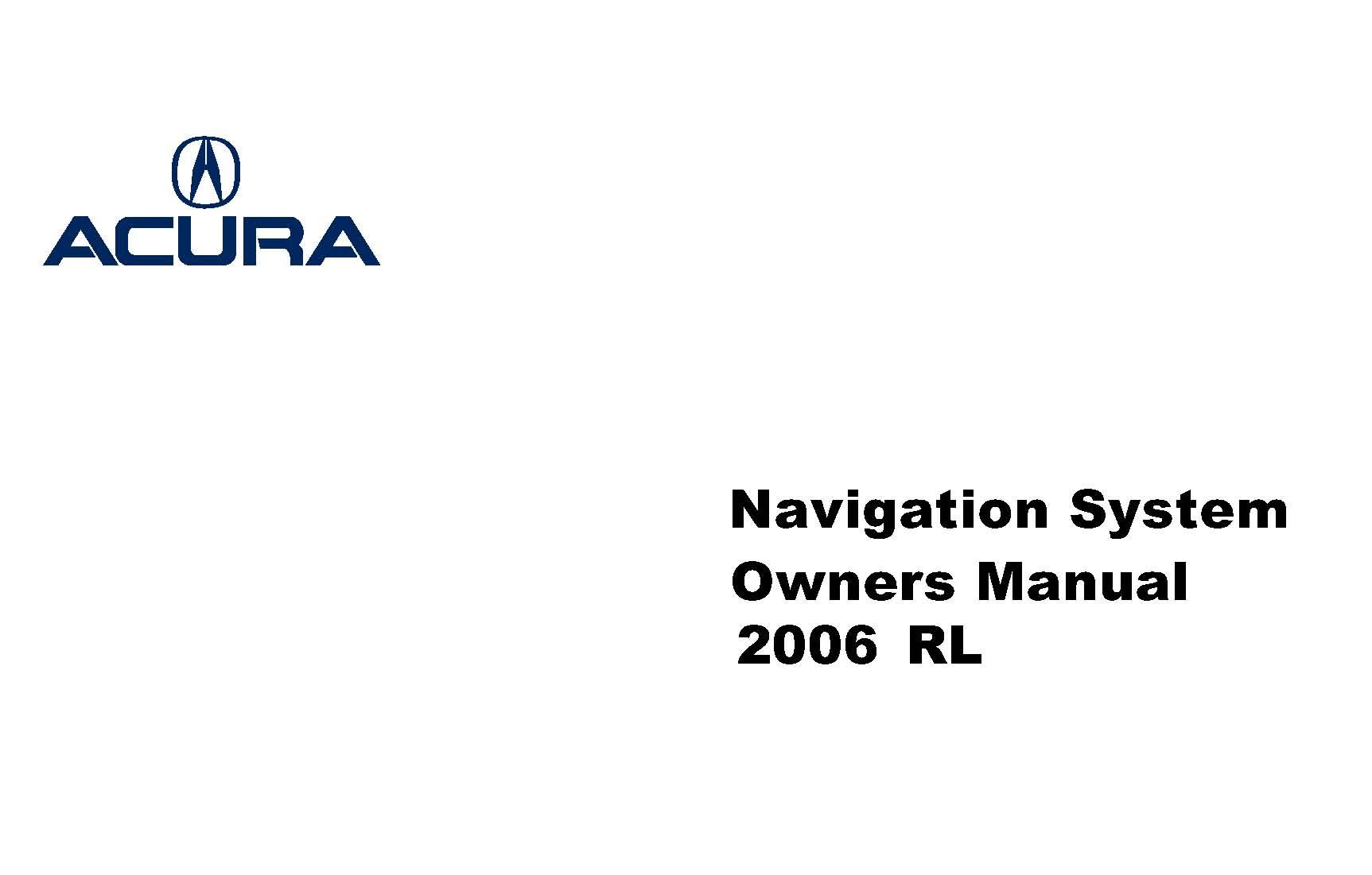 Acura Rl Navigation System Owner Manual 06