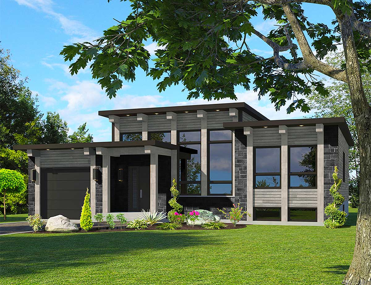 Attractive Modern House Plan - 90286PD | Architectural ... on Modern House Ideas  id=39452