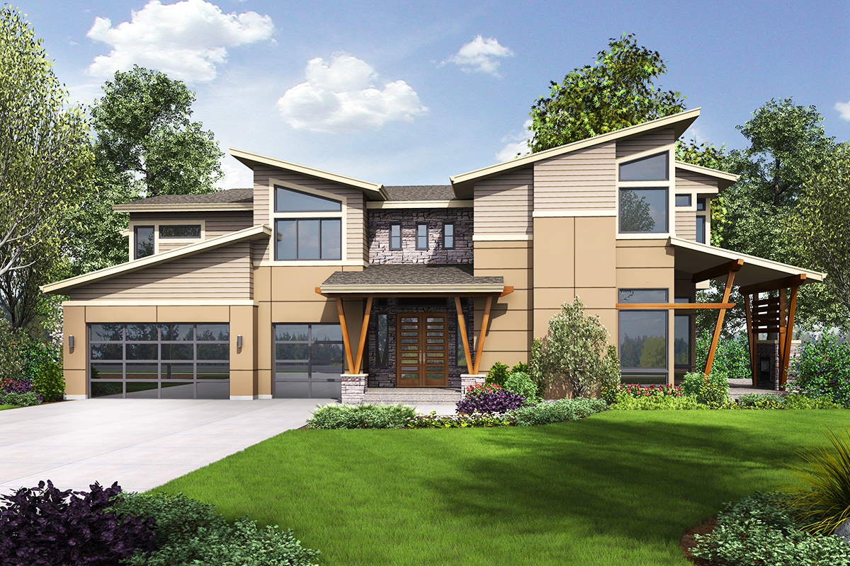 Modern House Plan with Sun Patio and covered Outdoor ... on Covered Outdoor Living Area id=69366