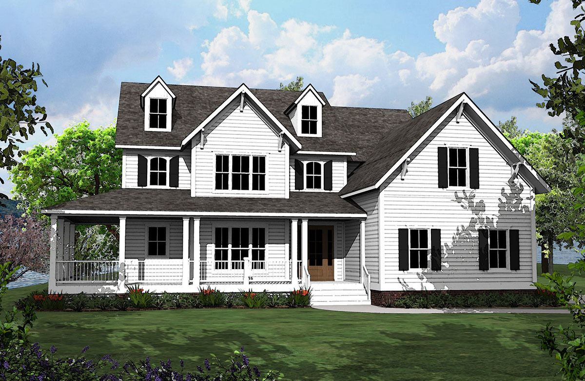 4 Bed Country House Plan With L-Shaped Porch