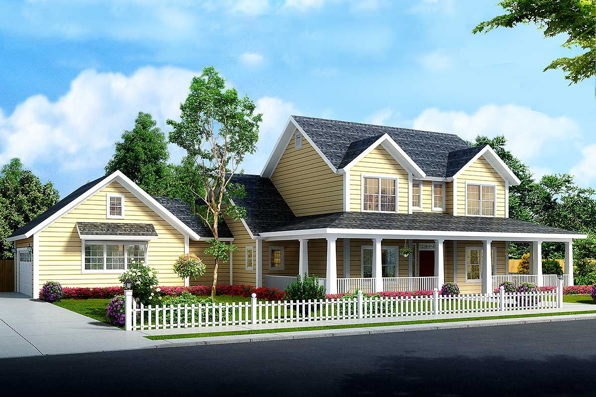 Budget Friendly 4 Bed Country Farmhouse Plan