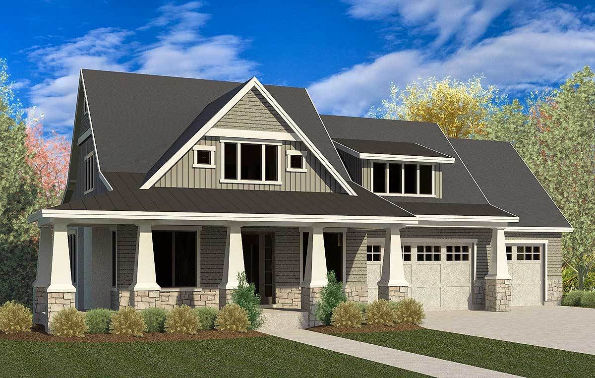 Craftsman House Plan with 3Car Garage and Master On Main