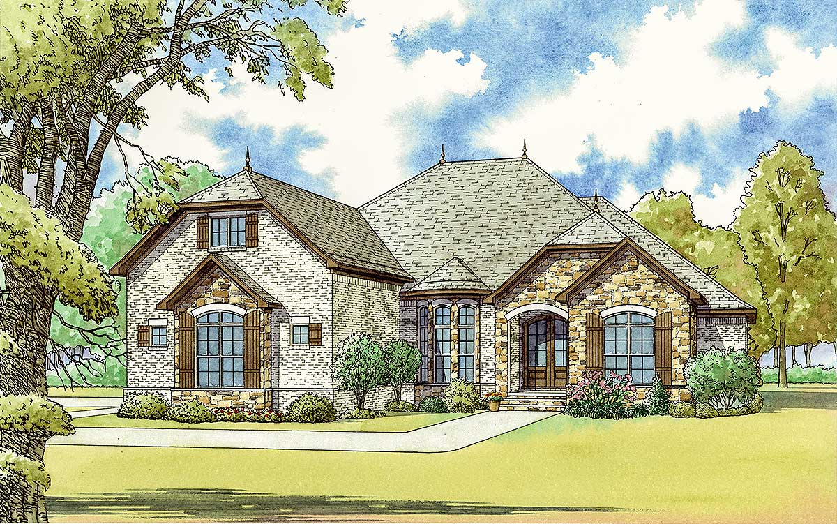 3-Bed French Country House Plan With Bonus Room Over