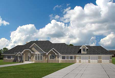 Extra Large Ranch Home Plan 35404GH Architectural