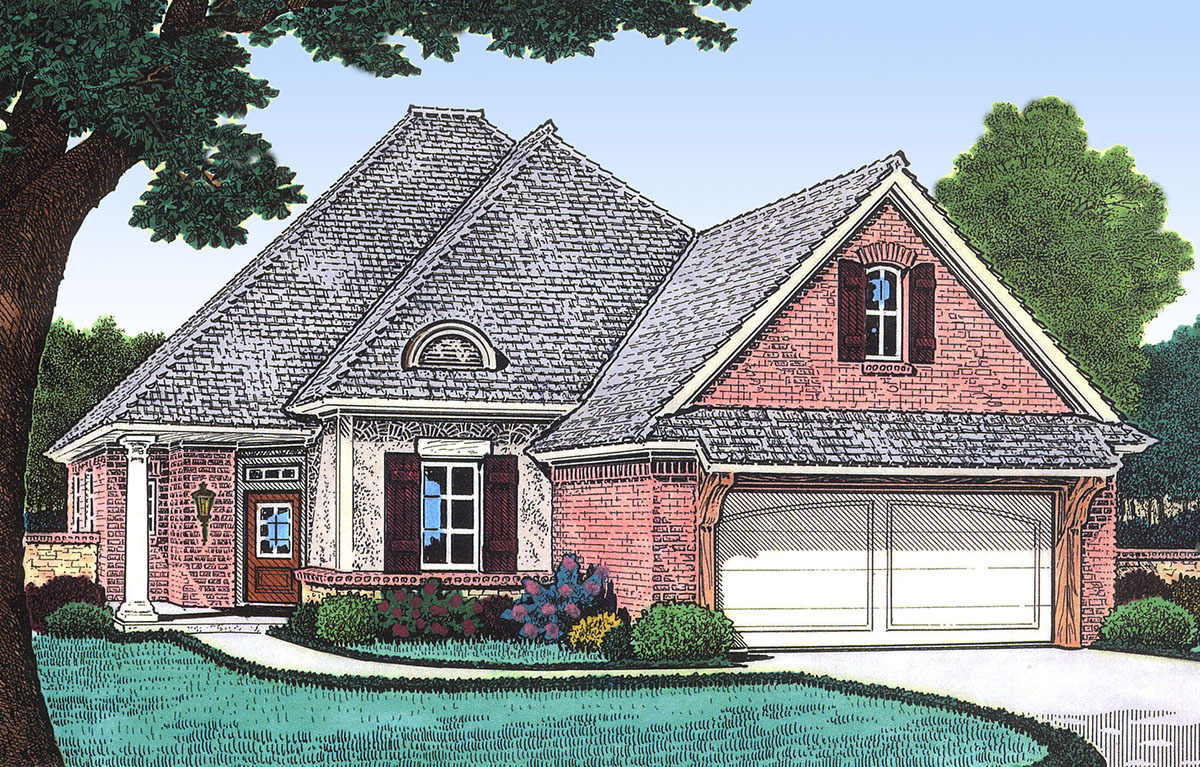 Narrow Lot French Country House Plan