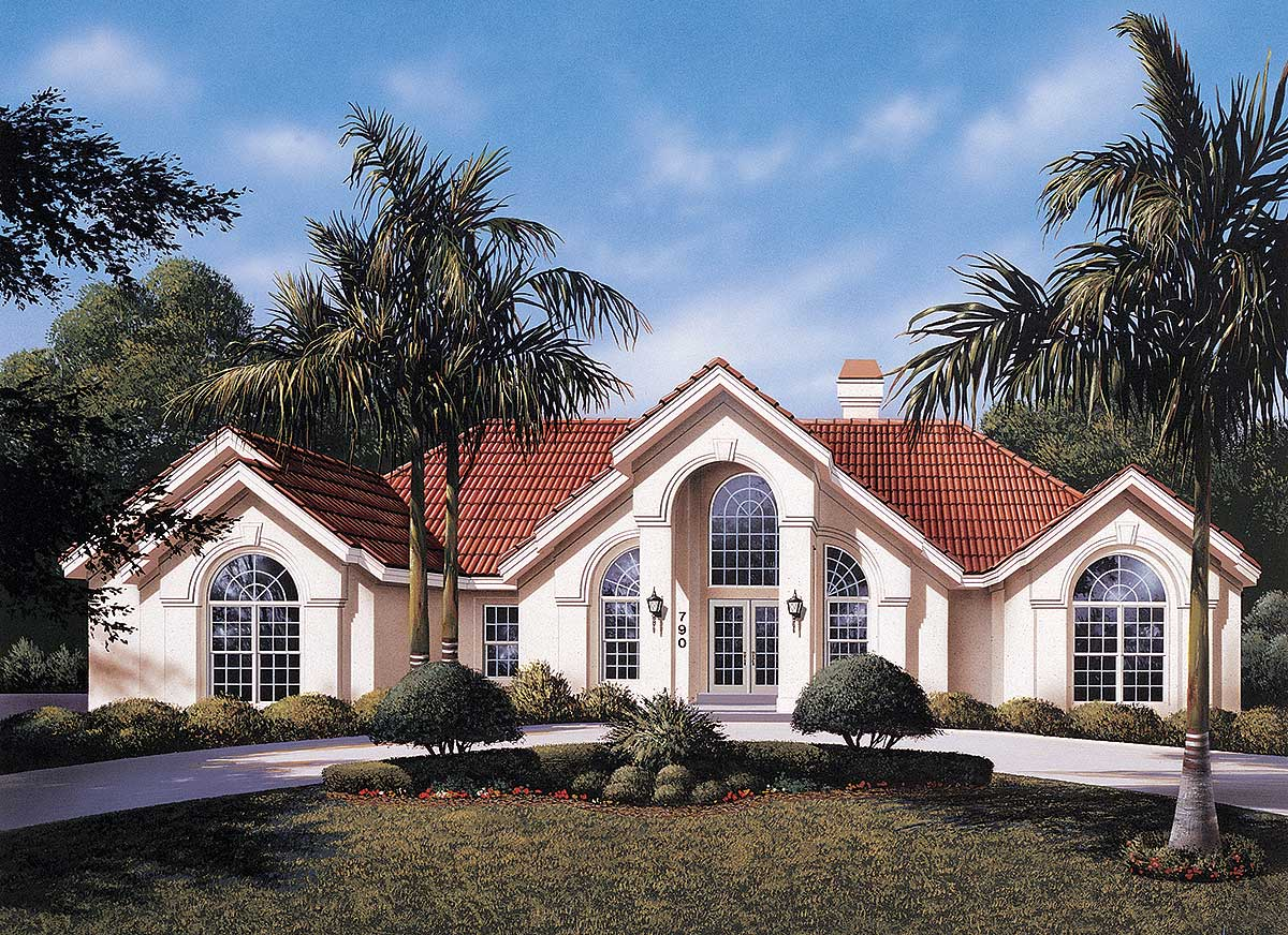 Atrium Ranch Home Plan - 57030HA