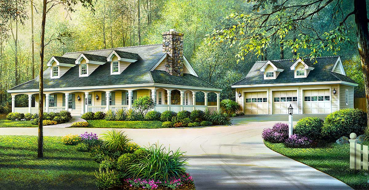 Country Ranch With Detached Three Car Garage 57094HA