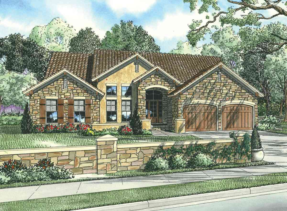 Tuscan House Plan with TwoStory Ceiling 59847ND 1st