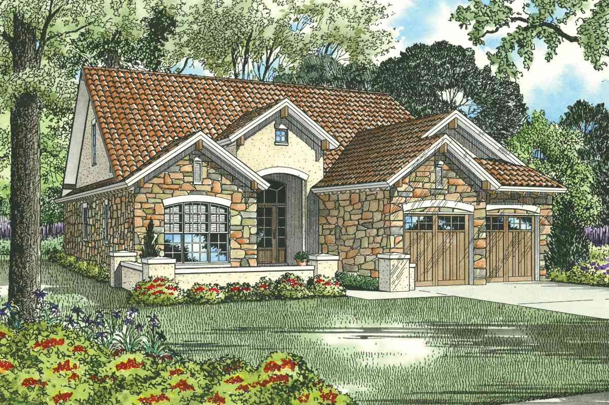 Tuscan House Plan with Optional Home Theater 59850ND