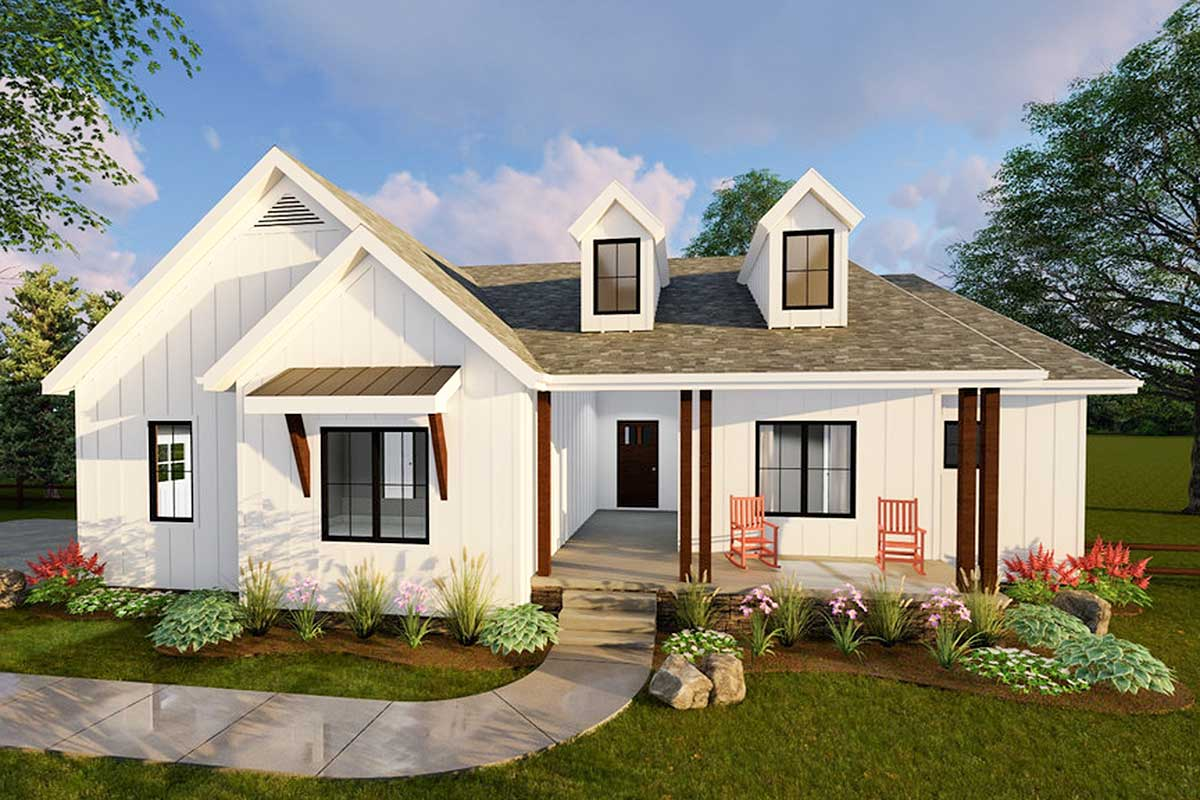 Compact Modern Farmhouse Ranch Home Plan