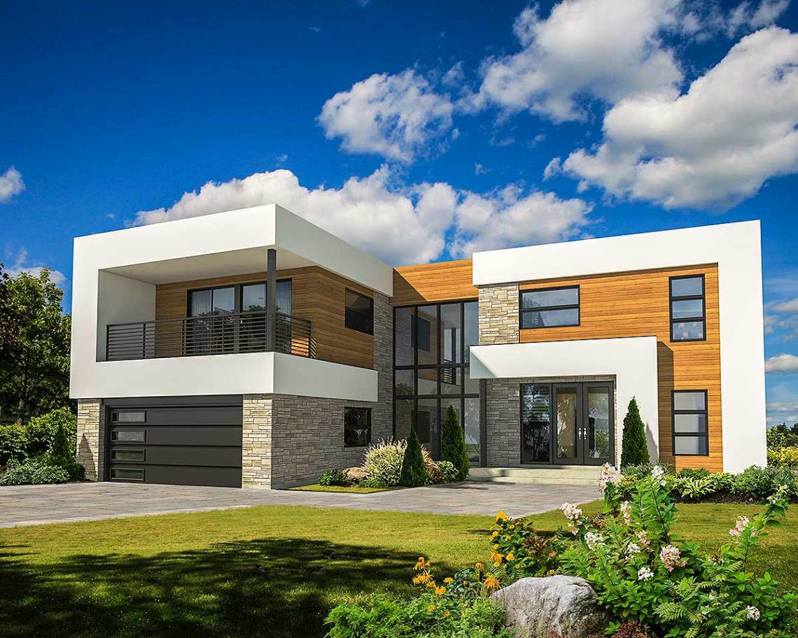 4 Bed Modern House Plan with Master Deck - 80828PM ...