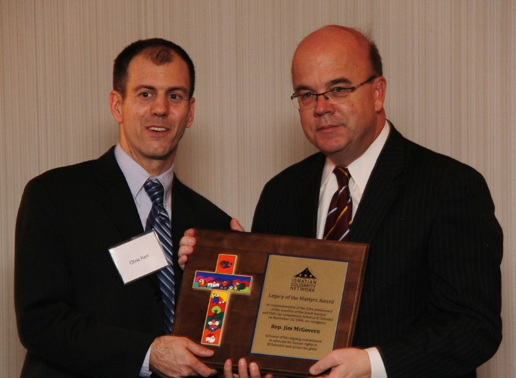 U.S. Representative James McGovern with ISN executive director Christopher Kerr at the 2014 Legacy of the Martyrs Award event.