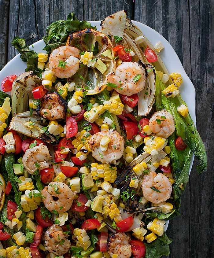 Grilled Romaine Salad with Shrimp from Soupaddict.com