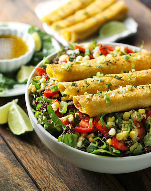 Mango Avocado Taquitos Salad Bowl from SoupAddict.com