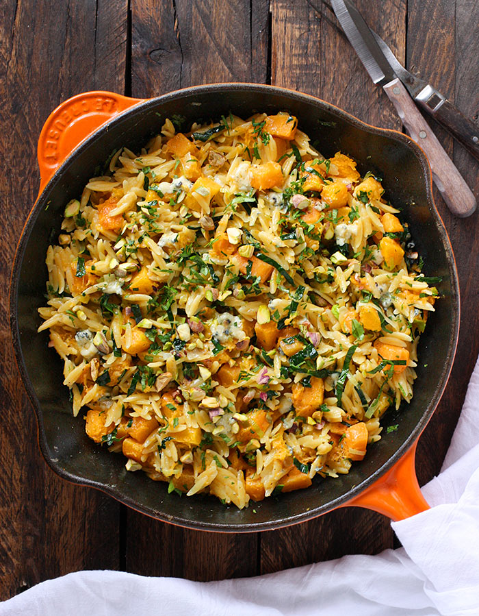 Orzo and Butternut Squash Skillet with Kale and Blue Cheese from SoupAddict.com. A weeknight-easy side dish, flavor-loaded up with creamy blue cheese, pistachios, and herbs.
