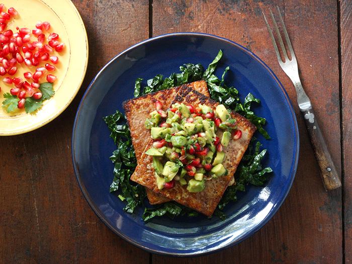 Pan Seared Tofu with Avocado Pomegranate Salsa   SoupAddict.com