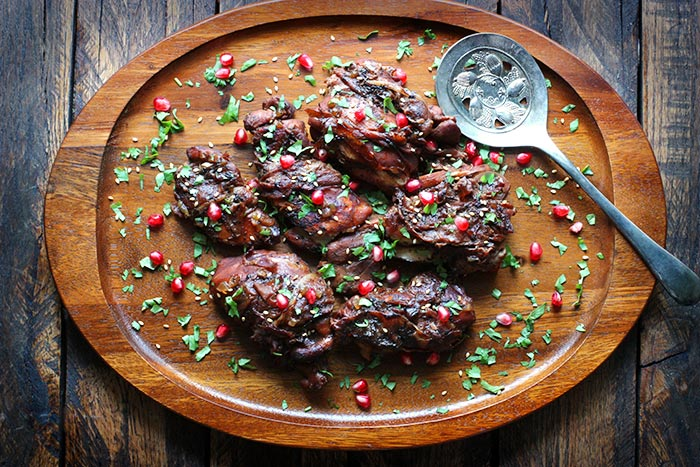 Braised Pomegranate Chicken Prosciutto from SoupAddict.com