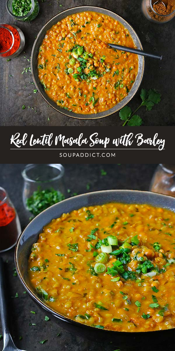 Healthy but filling and gently spiced, red lentil masala soup is a weeknight-easy vegetarian soup that the whole family will love! Recipe at SoupAddict.com