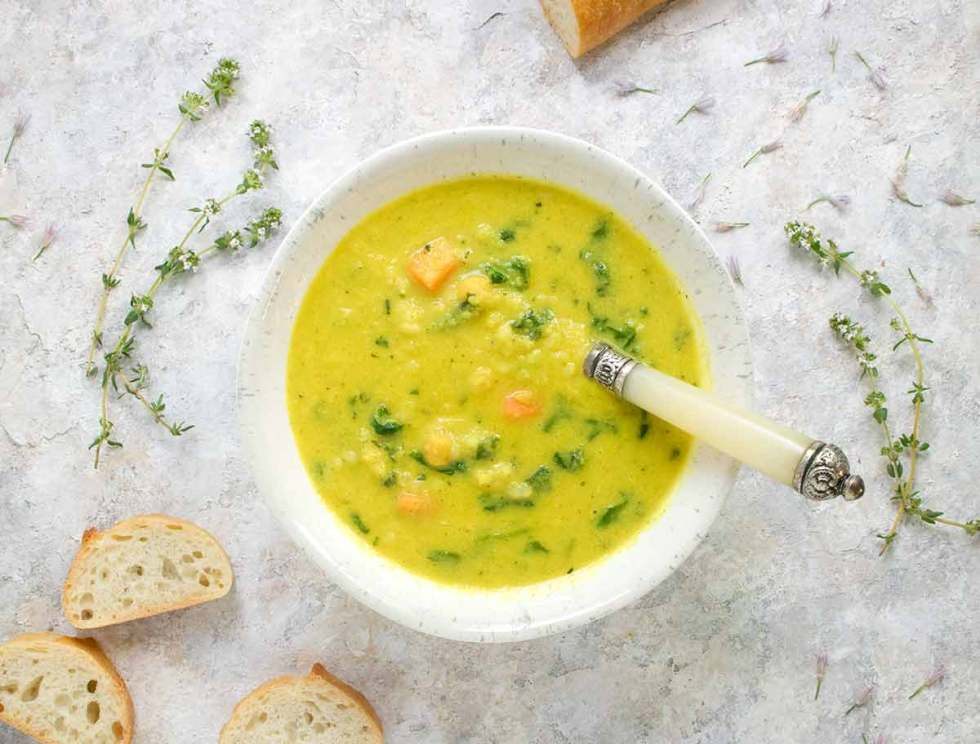 Sunshine Superfood Soup. Recipe at SoupAddict.com