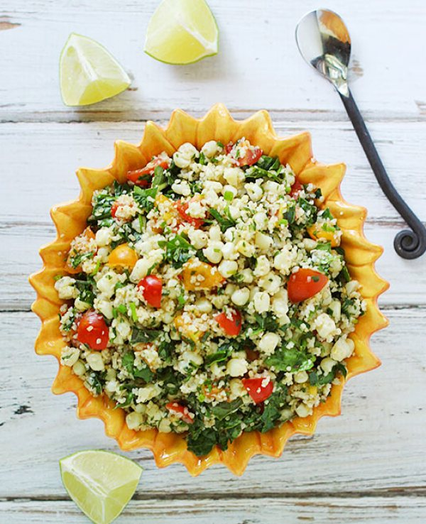 Tomato and Corn Tabbouleh Salad with Kale from SoupAddict.com