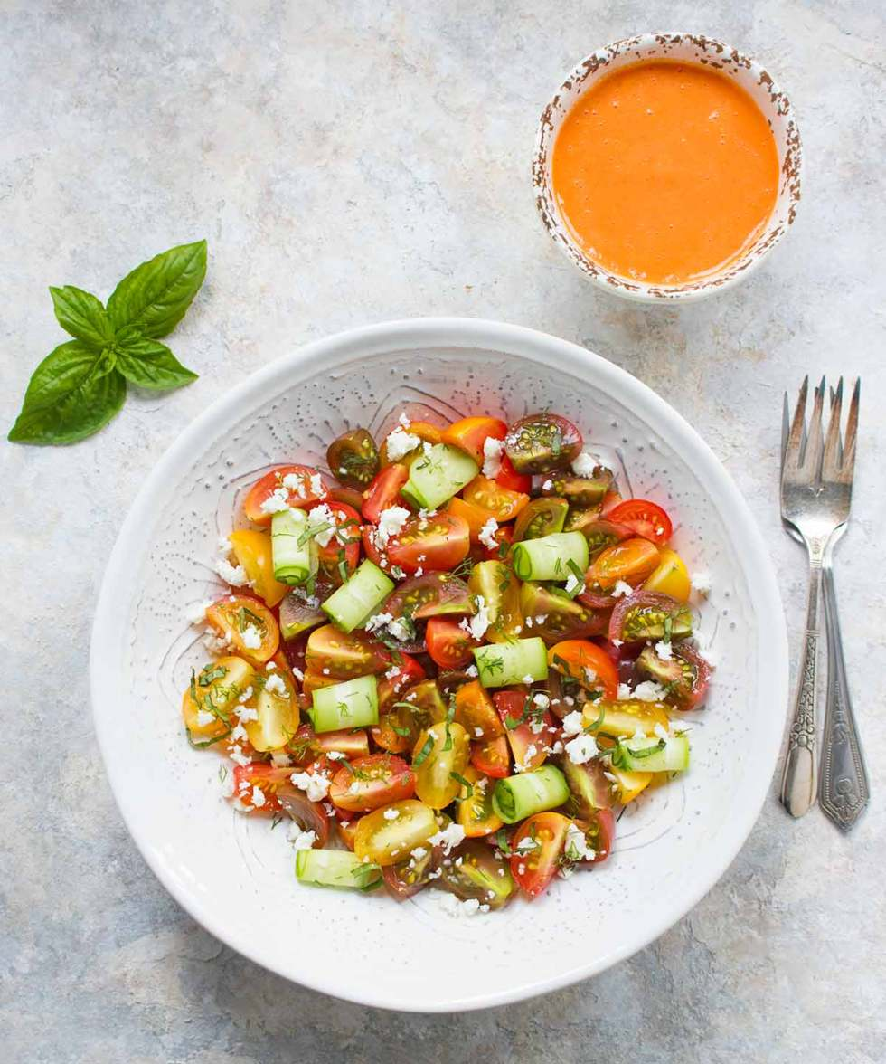 Tomato Lover's Tomato Salad with a side of Smoky Tomato Dressing. Recipe at SoupAddict.com