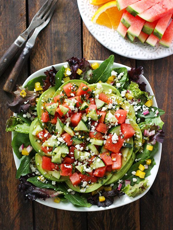 Crunchy Sweet Watermelon Cucumber Avocado Salad from SoupAddict.com