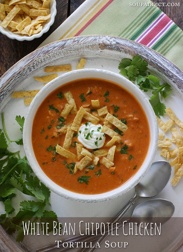 White Bean Chipotle Chicken Tortilla Soup from @SoupAddict #soup #chicken #chipotle