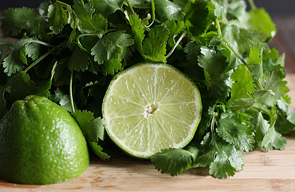Limes and cilantro for fish taco sauce