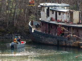 The tug Challenger is moved into position to be beached and demolished on March 7, 2016 (Photo by David Purdy/KTOO)